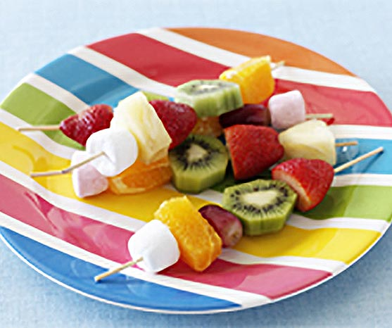 Make fruity skewers for treats.