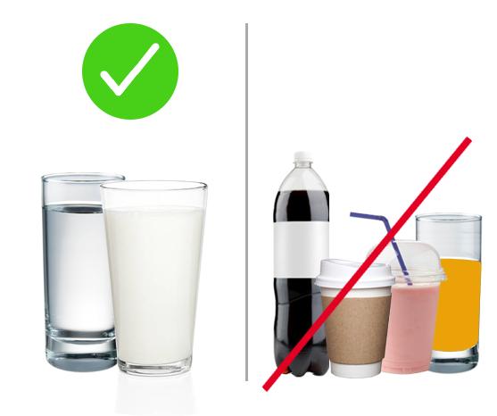 Drink water, avoid sugary drinks