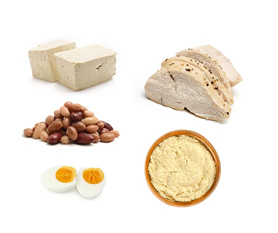 First foods high in protein like chicken eggs or tofu
