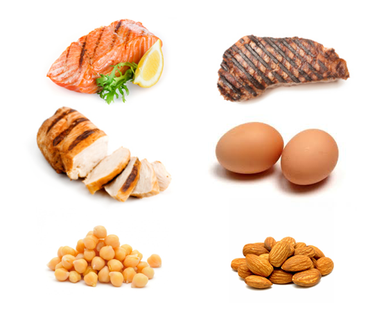 Meat, fish, poultry, eggs, nuts, legumes