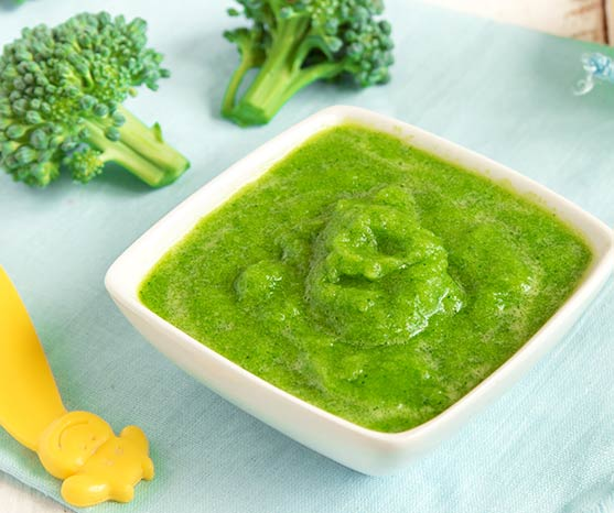 Bowl of broccoli puree for baby's first foods