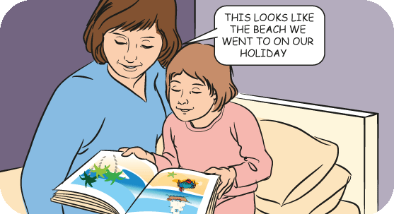 Mum and girl looking at a relaxing picture book