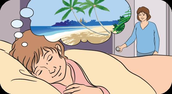 Girl imagining relaxing images as she falls asleep.