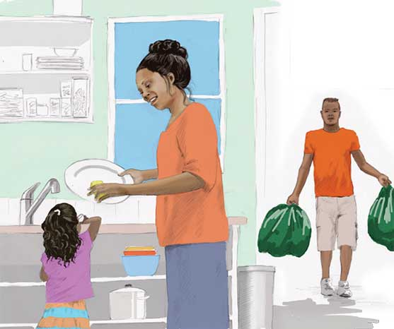 Clean the kitchen to stop sickness.