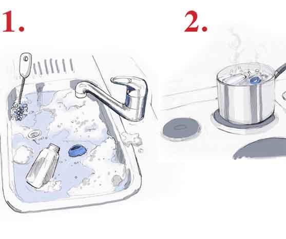 Wash, scrub and boil bottles.